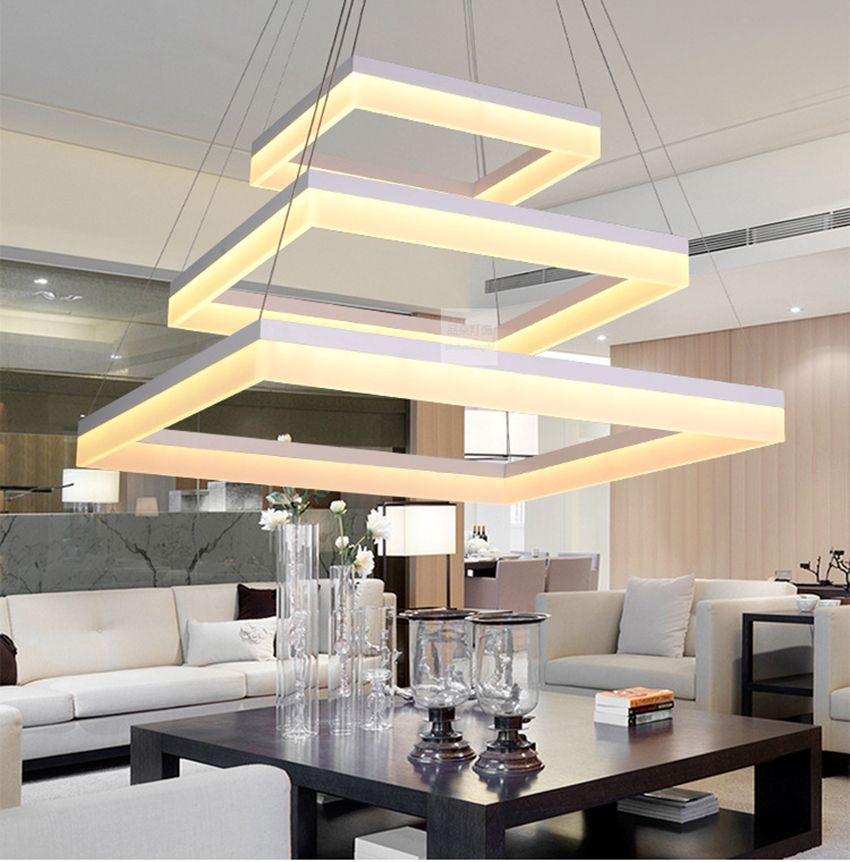 Modern Acrylic Square LED pendant lamp pc quadrate LED hanging light