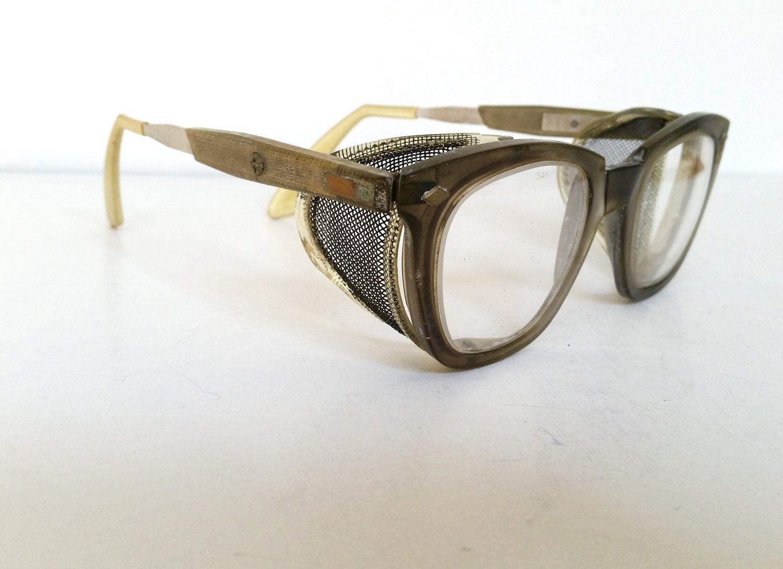 Vintage Safety Glasses . Industrial Eye Glasses . Mesh