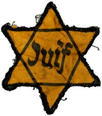 """Jewish star * (French: étoile juive, étoile jaune) with the inscription """"Juif"""", compulsory since 29 May 1942"""