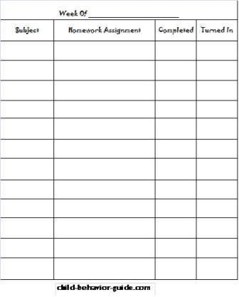 Homework Assignment Sheet Template  MieszCo