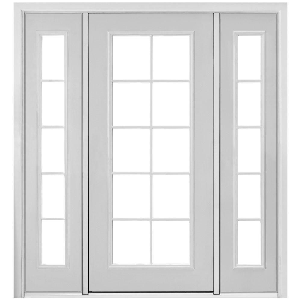 Masonite 72 In X 80 In Primed White Steel Prehung Right Hand Inswing 10 Lite Clear Glass Patio Door With Venting Sidelites 521269 The Home Depot Single Patio Door Glass Doors Patio Patio Doors