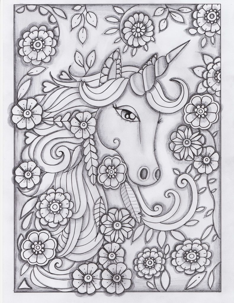 Unicorn Greyscale Drawing Unedited Coloring Pages Adult