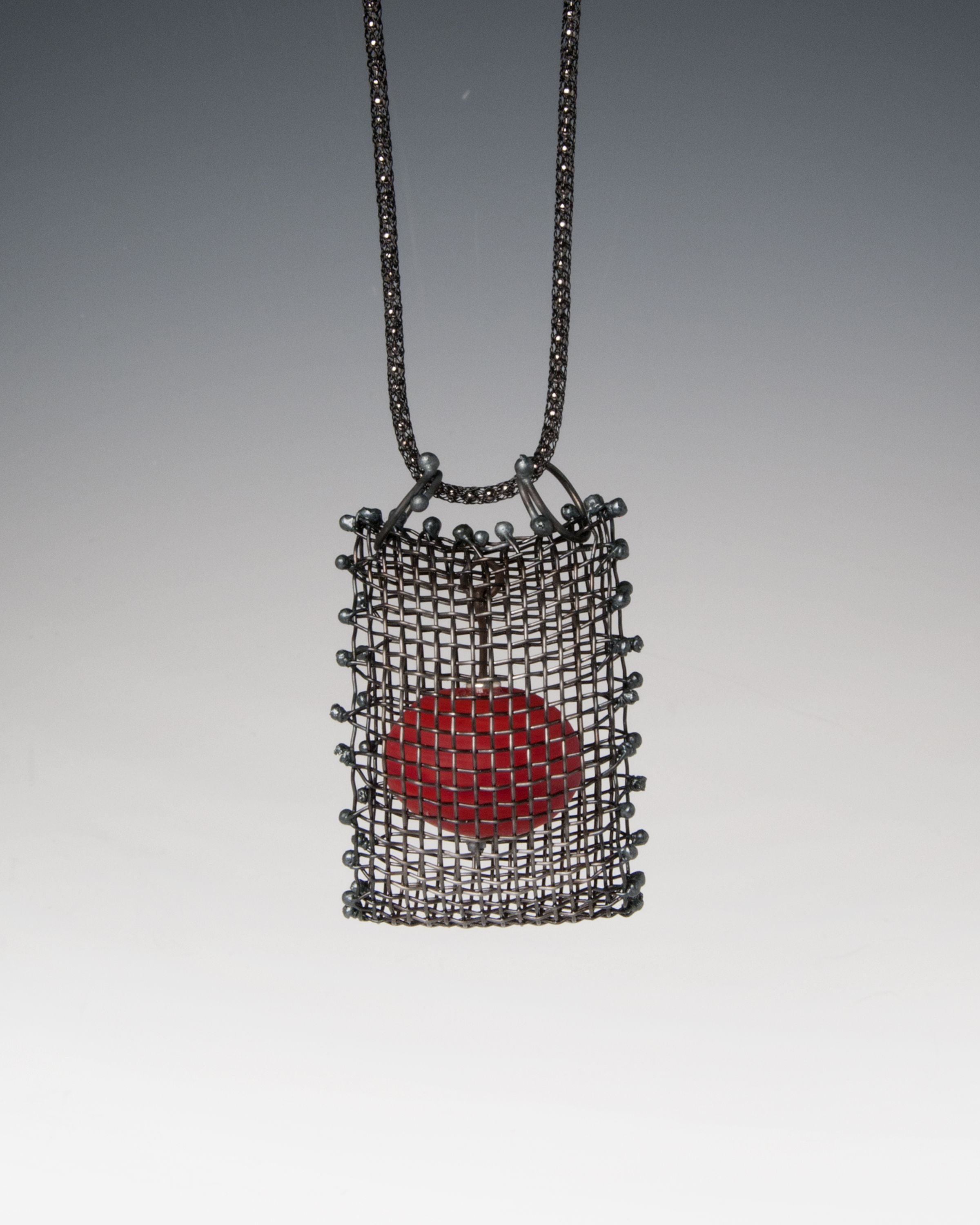 Anne Lindsay Jewelry Black Steel Wire mesh necklace with large ...