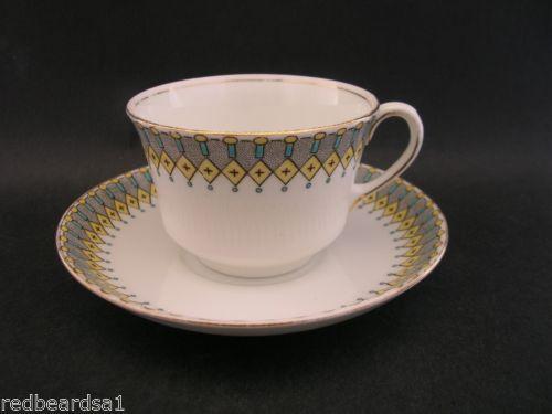 Aynsley-Tea-Cup-Saucer-Bone-China-Hand-Painted-Art-Deco-c-1920s