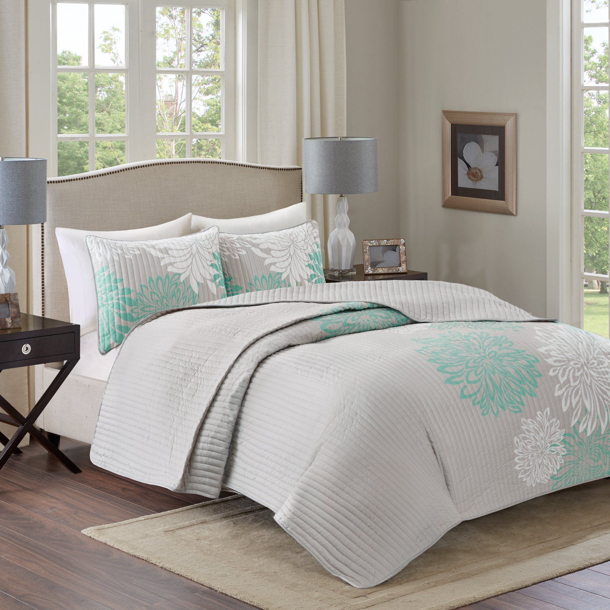 Comfort Spaces - Enya Quilt Mini Set - 3 Piece - Aqua and Grey - Floral Printed Pattern - Full/Queen size, includes 1 Quilt, 2 Shams