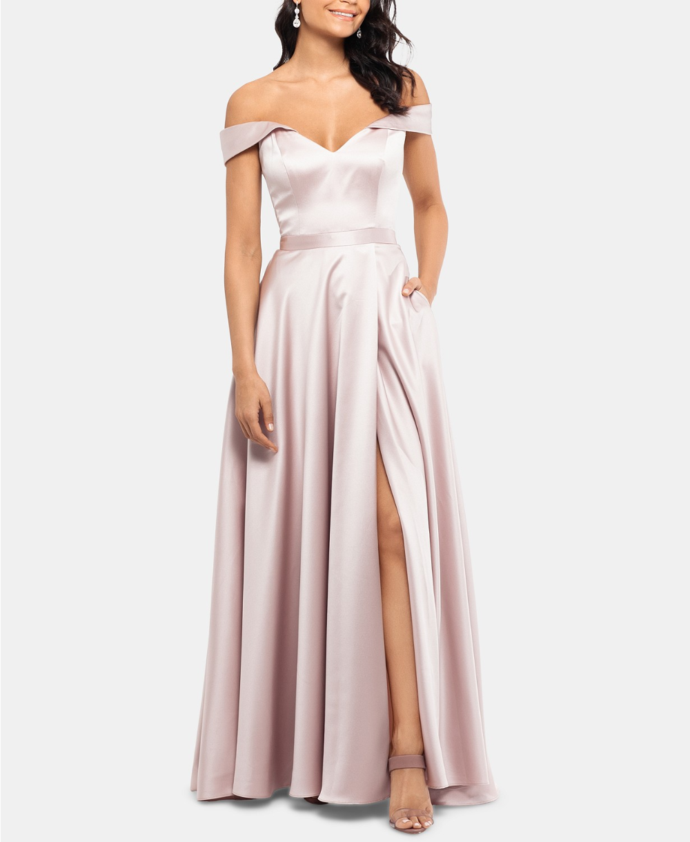 Xscape Off The Shoulder Satin Gown Reviews Dresses Women Macy S Formal Wear Dresses Long Gown Dress Gowns [ 1219 x 1000 Pixel ]