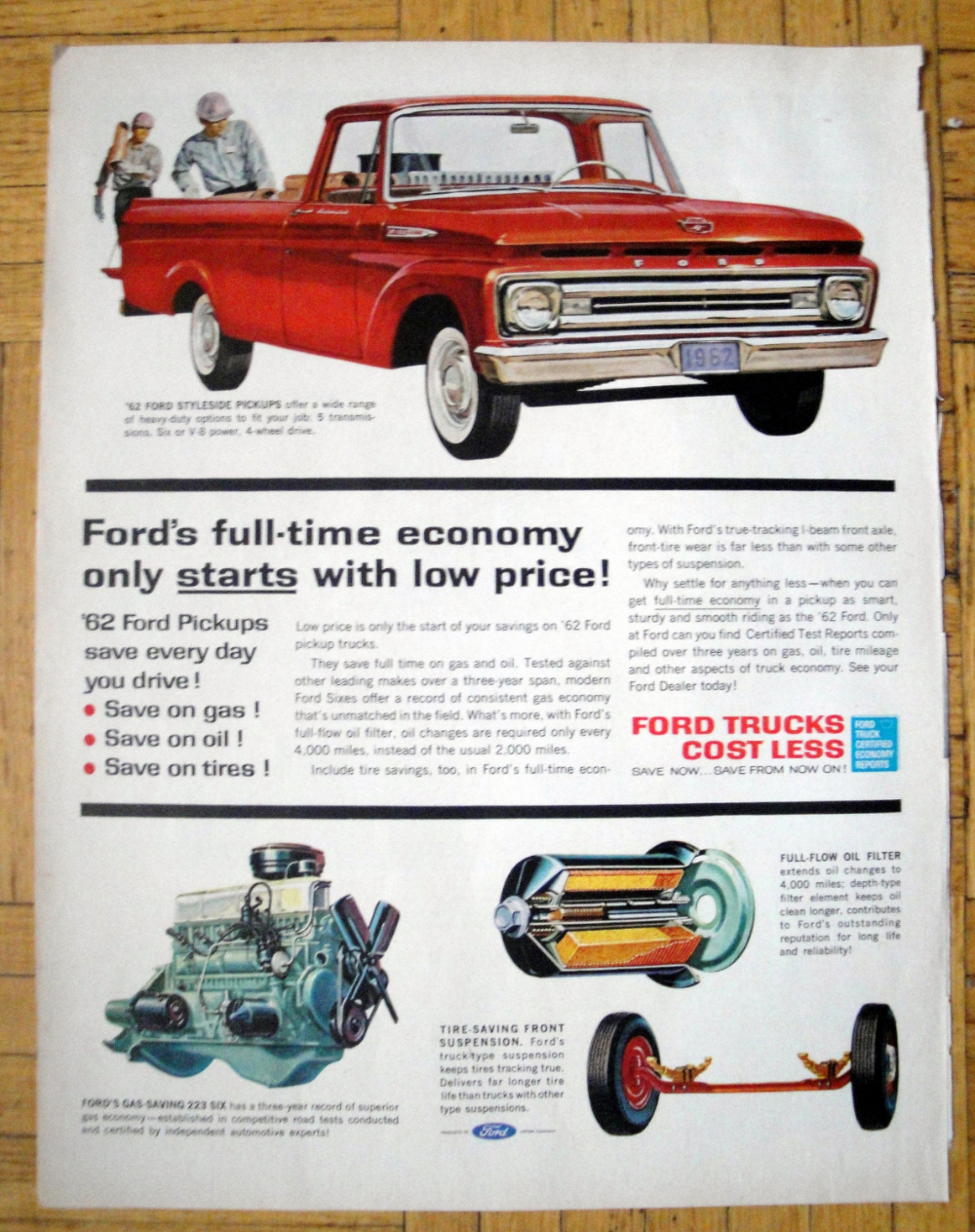 1962 Ford Styleside Pickup Red V 8 4 Wheel Drive Original Etsy