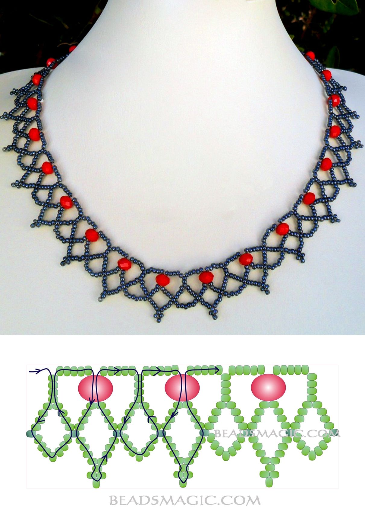 Free pattern for beaded necklace Сranberry 11/0-6-8 mm fánk ...