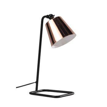 Schwarze Schreibtischlampe aus verkupfertem Metall