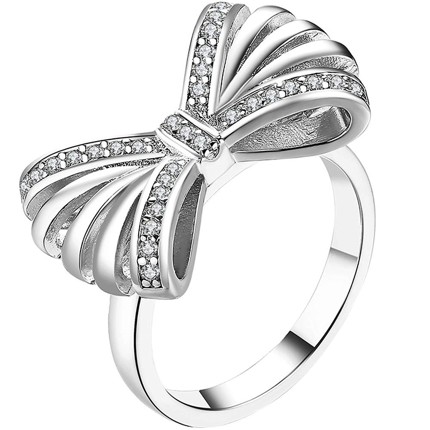 LWLH Jewelry Womens 18K White Gold Plated Cubic Zirconia