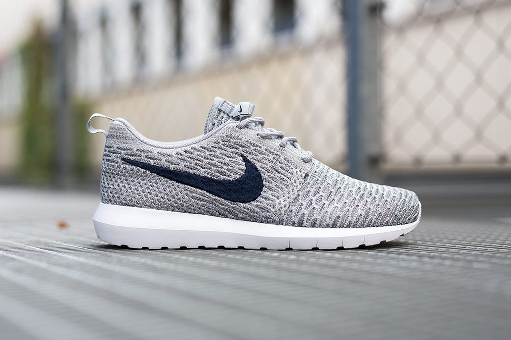 Grey Flyknit Roshe Run Sneakers