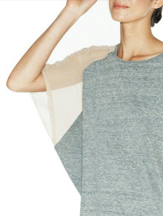 Simple textures and colors + transparency in a short sleeve sweater ...