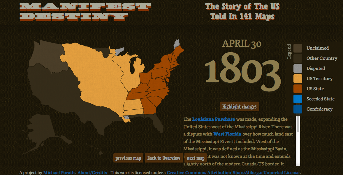 Manifest Destiny The Story Of The US Told In Maps The - Interactive us history map