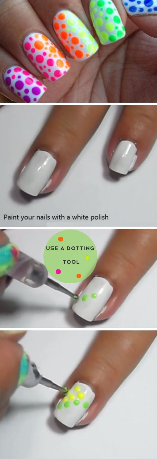 Neon Polkadots | Awesome Nail Art Ideas for Fall