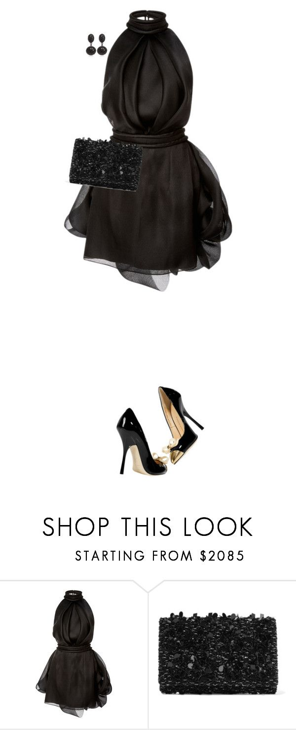 """LBD"" by daiscat ❤ liked on Polyvore featuring Brandon Maxwell, Giuseppe Zanotti, Oscar de la Renta and Matthew Campbell Laurenza"