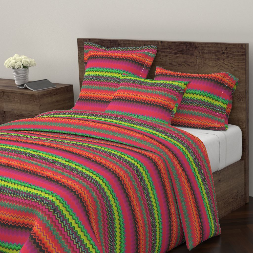 Wyandotte Duvet Cover Featuring Bright Fruity Tropical Chevrons Multicolor By Paysmage Roostery Home Decor