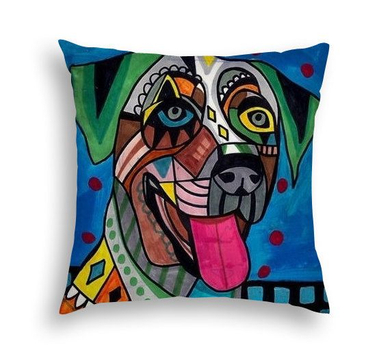 Catahoula Leopard Angel Memorial Gift Dog Lovers Folk Art throw Pillow by Heather Galler - 5 Sizes to choose from