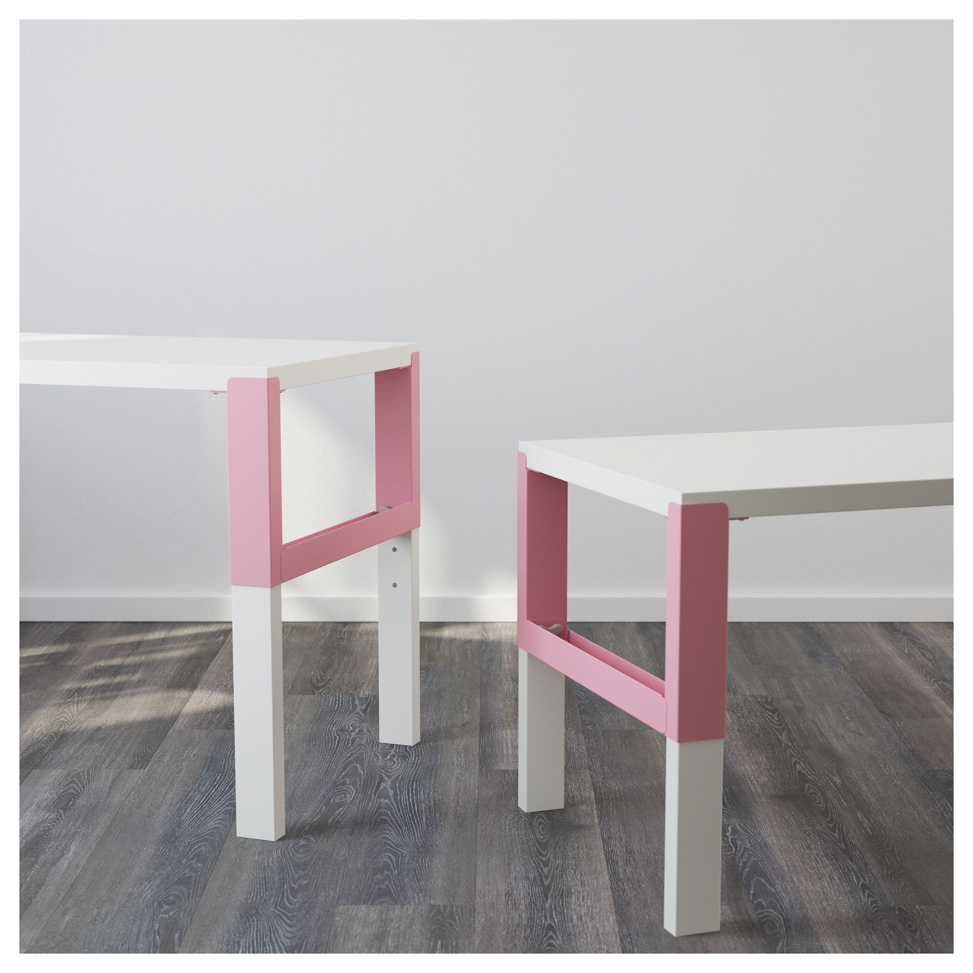 PÅHL Desk with addon unit, white, pink, 128x58 cm. Find