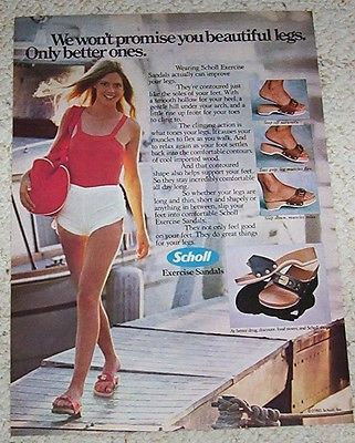 1980 ad page - Scholl Exercise sandals shoes SEXY blonde girl legs PRINT  ADVERT…