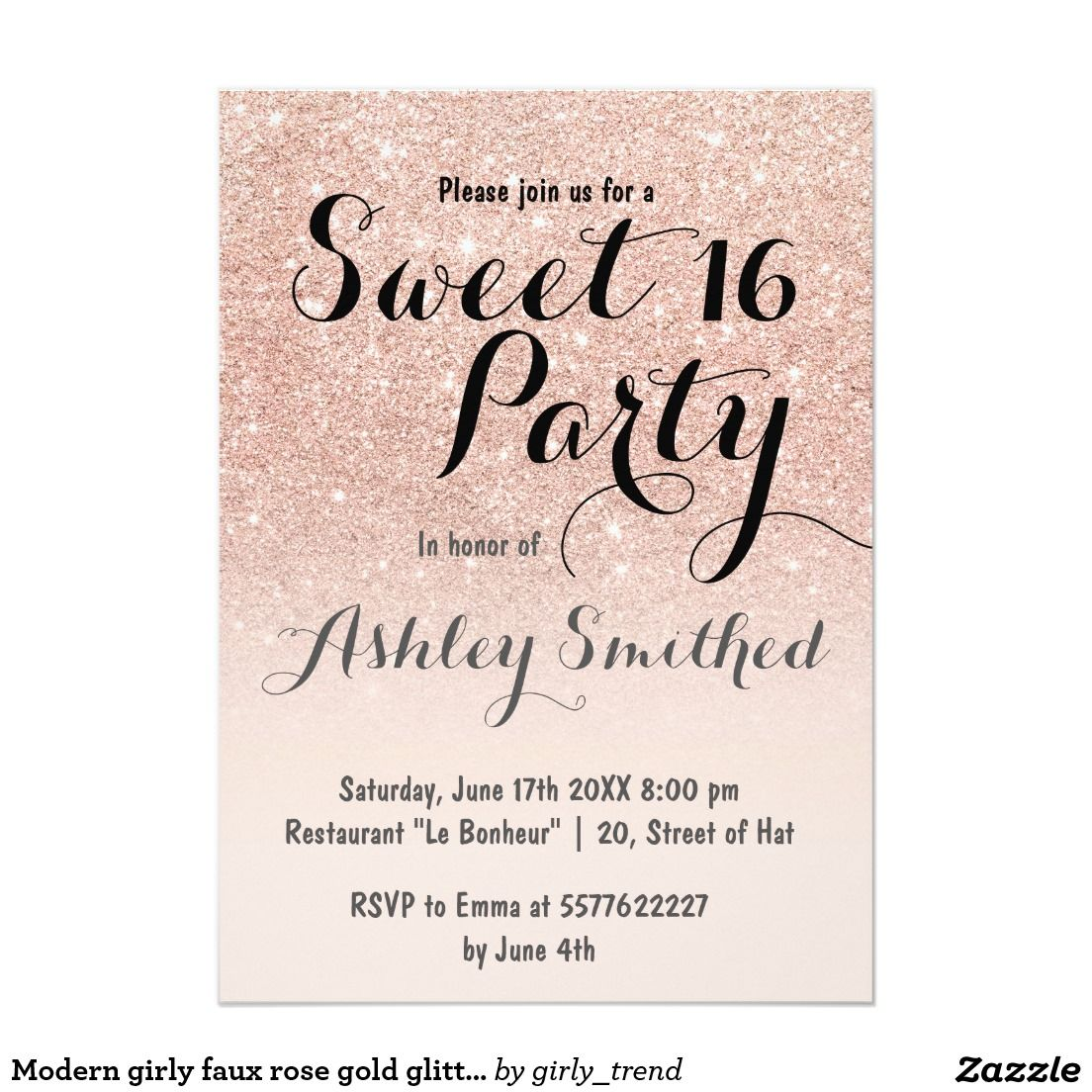 Modern girly faux rose gold glitter ombre sweet 16 card sweet 16 modern girly faux rose gold glitter ombre sweet 16 5x7 paper invitation card filmwisefo Images