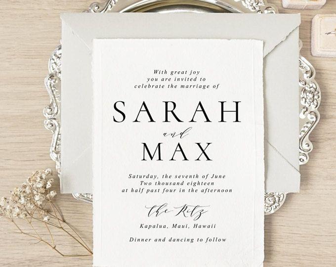 wedding invitation minimalist wedding invitation letterpress wedding invitation modern wedding invitation invite sample only sarah