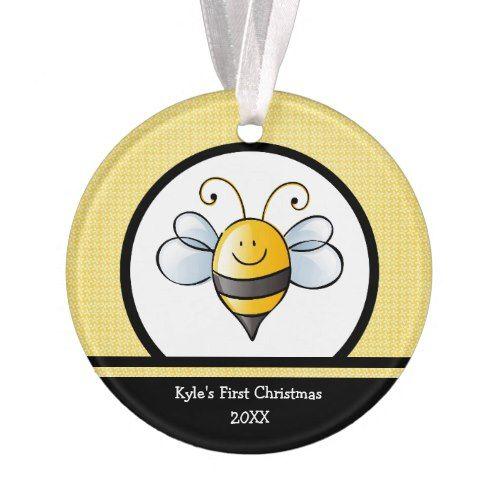 Bumble Bee Yellow Black Christmas Tree Ornament | Zazzle ...