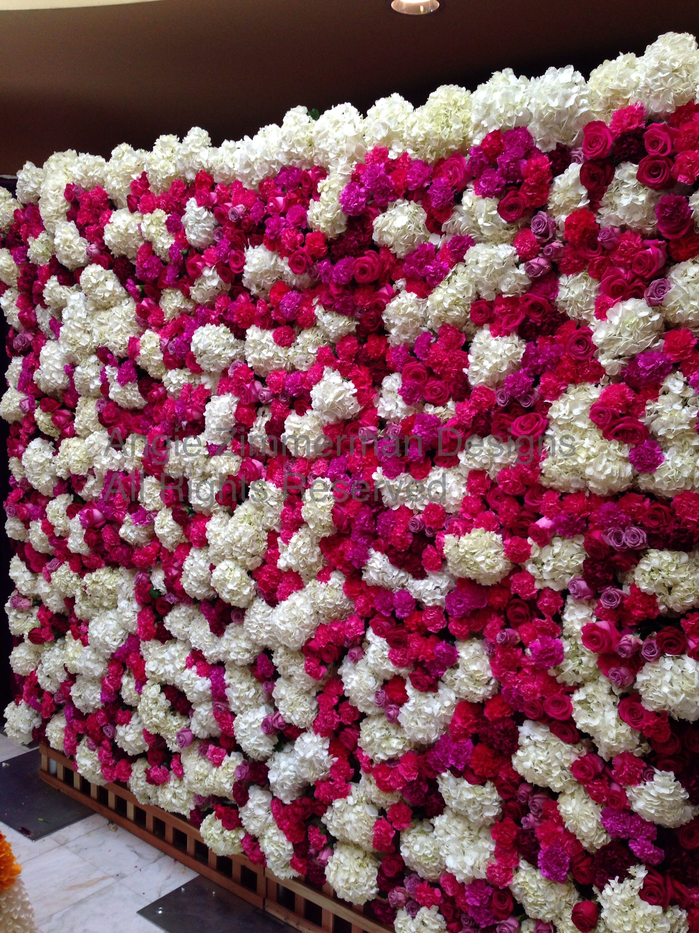 A Fresh Flower Wall Made Out Of Hydrangea Roses And Carnations By Angie Zimmerman Designs Flowerwall Creativeflor Floral Design Flower Wall Floral Wall Art