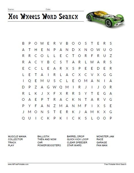 Hot Wheels Word Search | All Free Printable | Pinterest