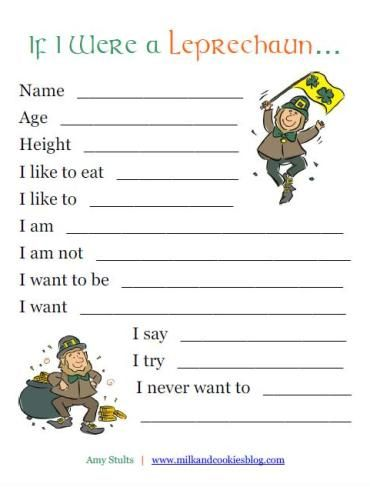 "If I Were a Leprechaun"" Printable for Kids 