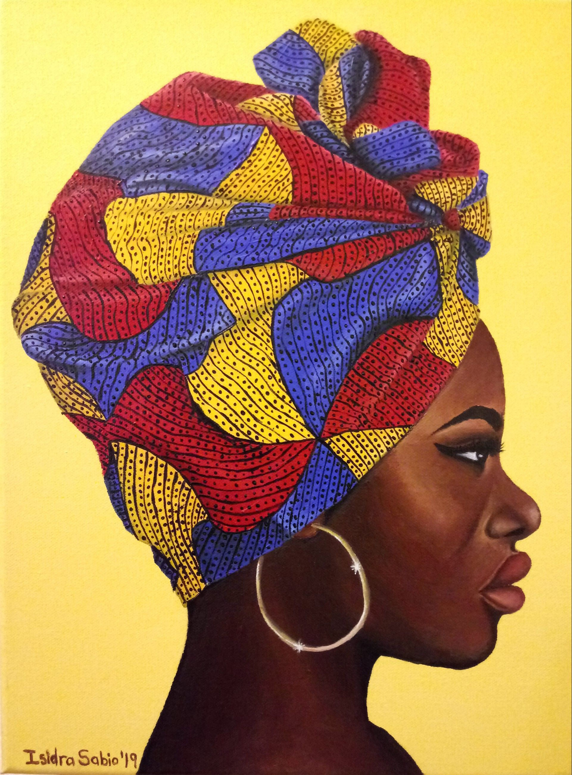 painting on canvas of black woman wearing a