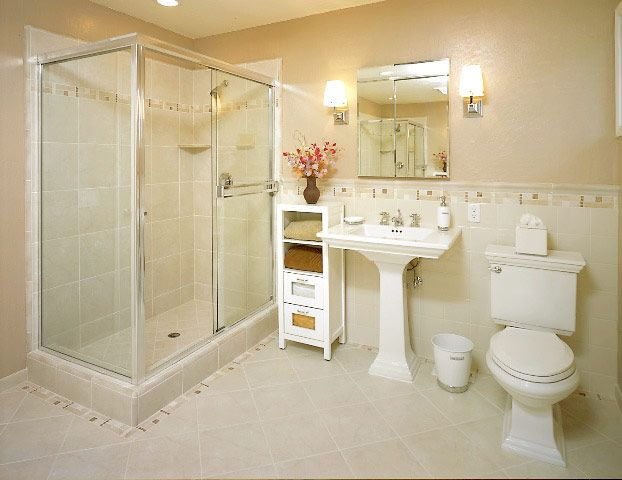 Stunning Small Bathroom Tile Ideas With Beige Concrete Floor And ...