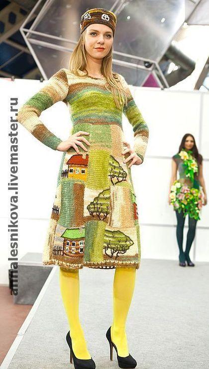 """Платья ручной работы. Ярмарка Мастеров - ручная работа. Купить Платье """"Домики"""". Handmade. Авторское платье, модное вязаное платье"""