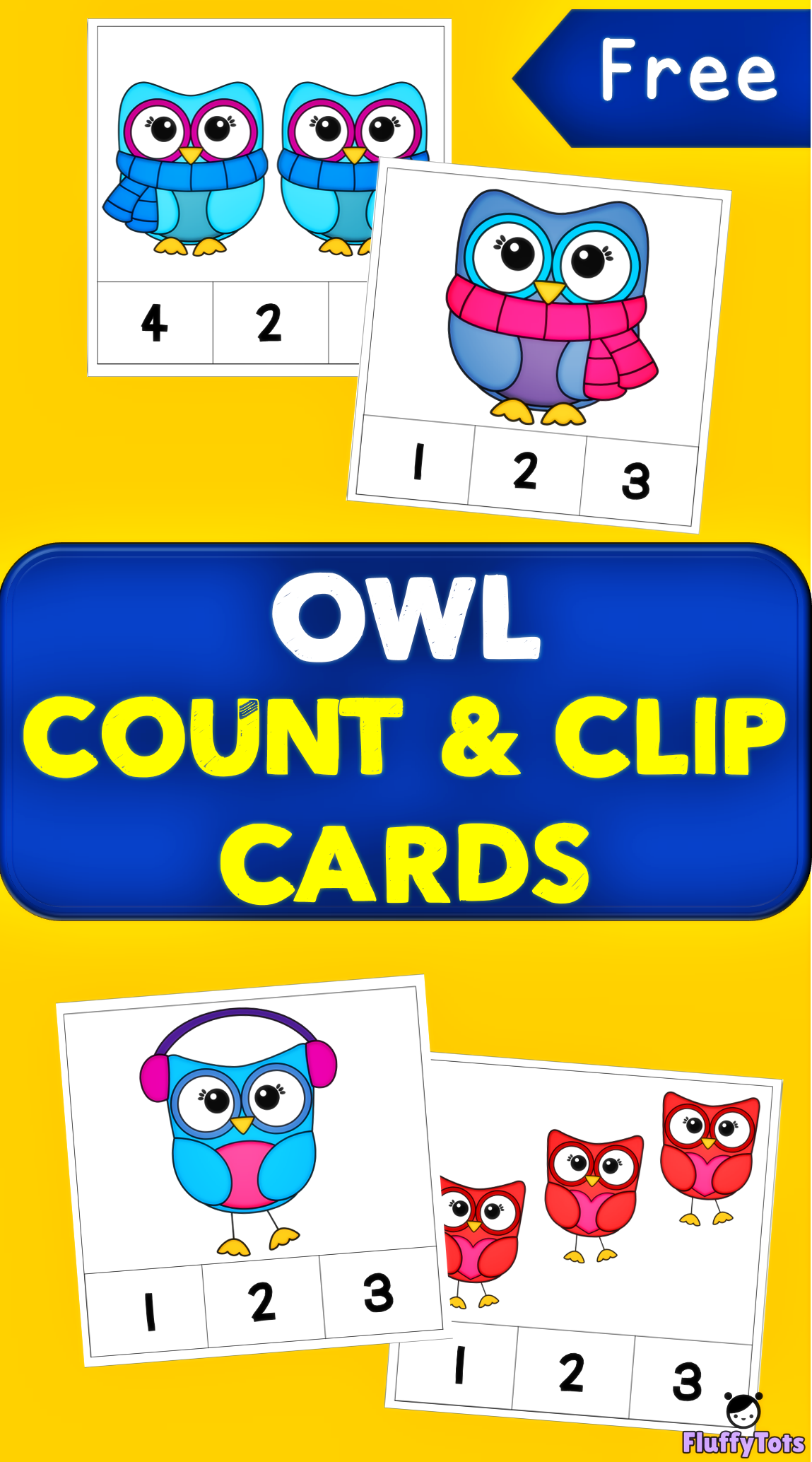 Owl Count and Clip Card 20 Easy Sets for Preschoolers