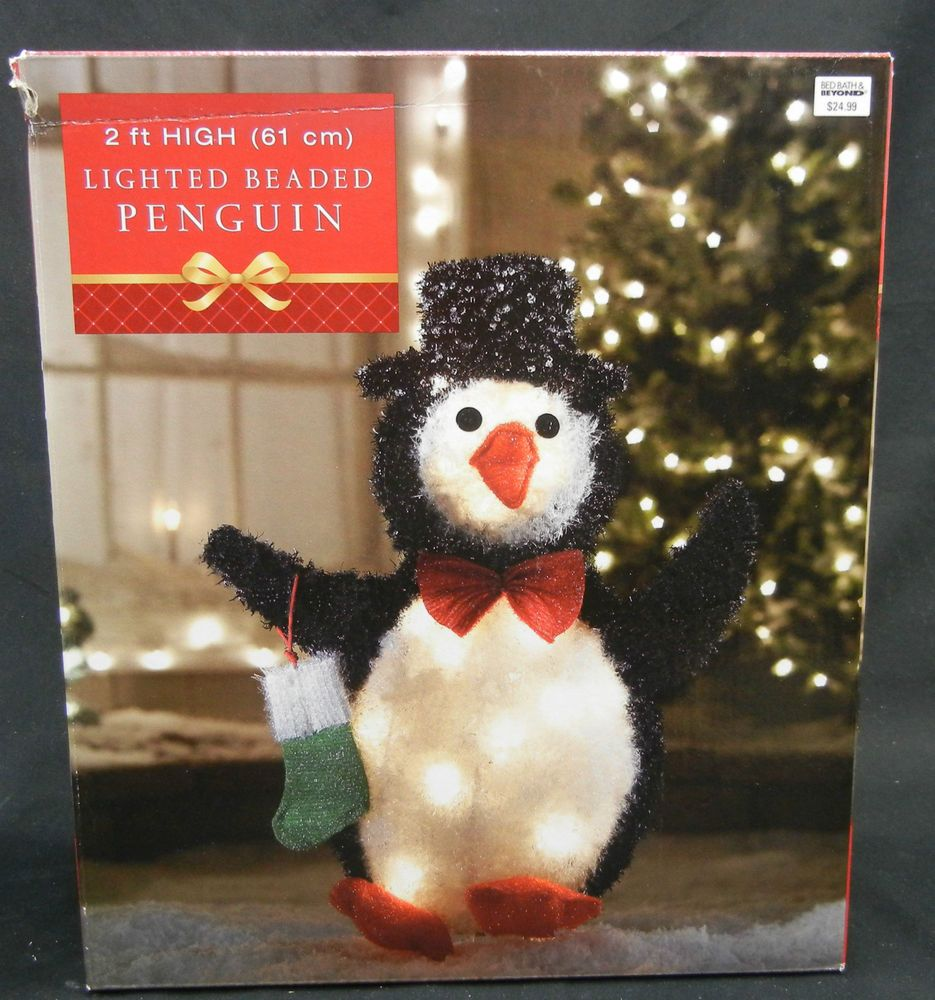 bed bath beyondindooroutdoor christmas lighted penguin decoration 2 ft tall bedbathbeyond