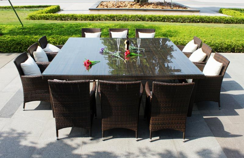 Large wrought iron patio dining set for 10 people. | Big Outdoor ...