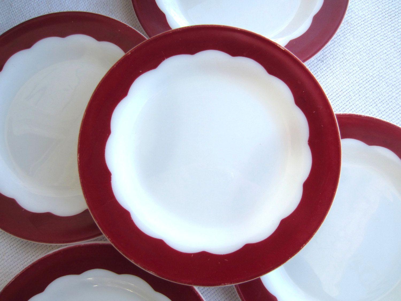 Vintage 1950u0027s Milk Glass Dinner Plates White Red Scalloped Design Corning Dinnerware & Vintage 1950u0027s Milk Glass Dinner Plates White Red Scalloped Design ...