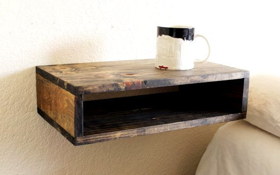 Wooden Floating Nightstand Modern Wood Shelf Modern Etsy