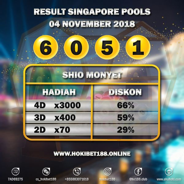 Result Singapore Pools 04 Nov 2018 : 6 0 5 1 SAH! http