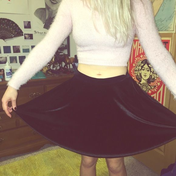 Black Velvet High Skater Skirt Comfy highway listed skirt, true to fit, just no longer fits me! Barely worn Rolla Coaster Skirts Circle & Skater