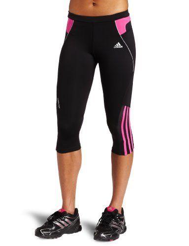 dbcf4e05873e20 adidas Women's RESPONSE DS Three-Quarter Tight (Black, Intense Pink, Strong  Pink