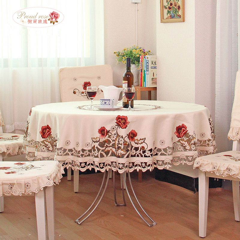 Proud Rose Exquisite Embroidery Hollow Out Round Table Cloth Rural Round  Tablecloth The Modern Home Decoration