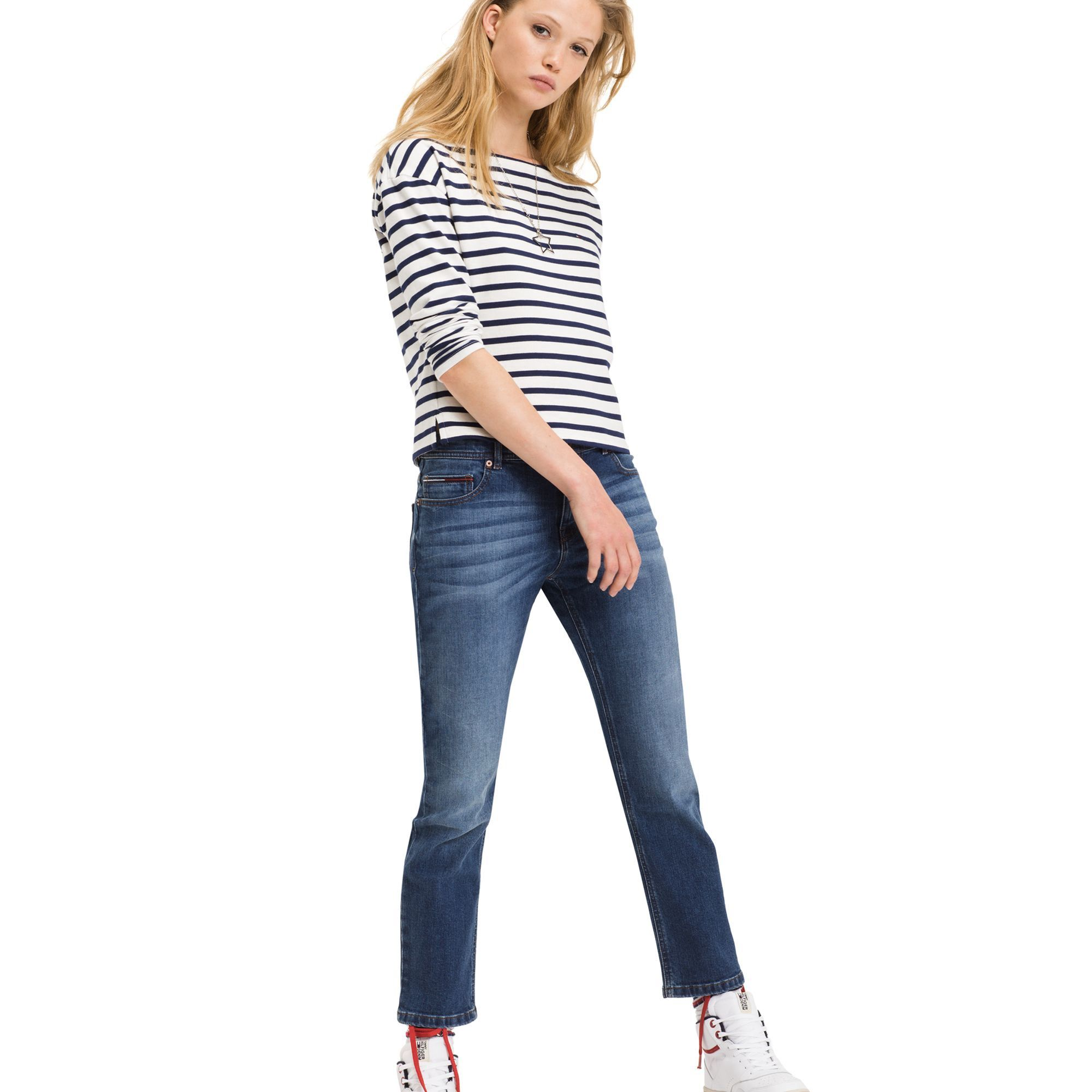 TOMMY HILFIGER STRAIGHT FIT CROPPED JEAN - WARM MID BLUE COMFORT. #tommyhilfiger #cloth #