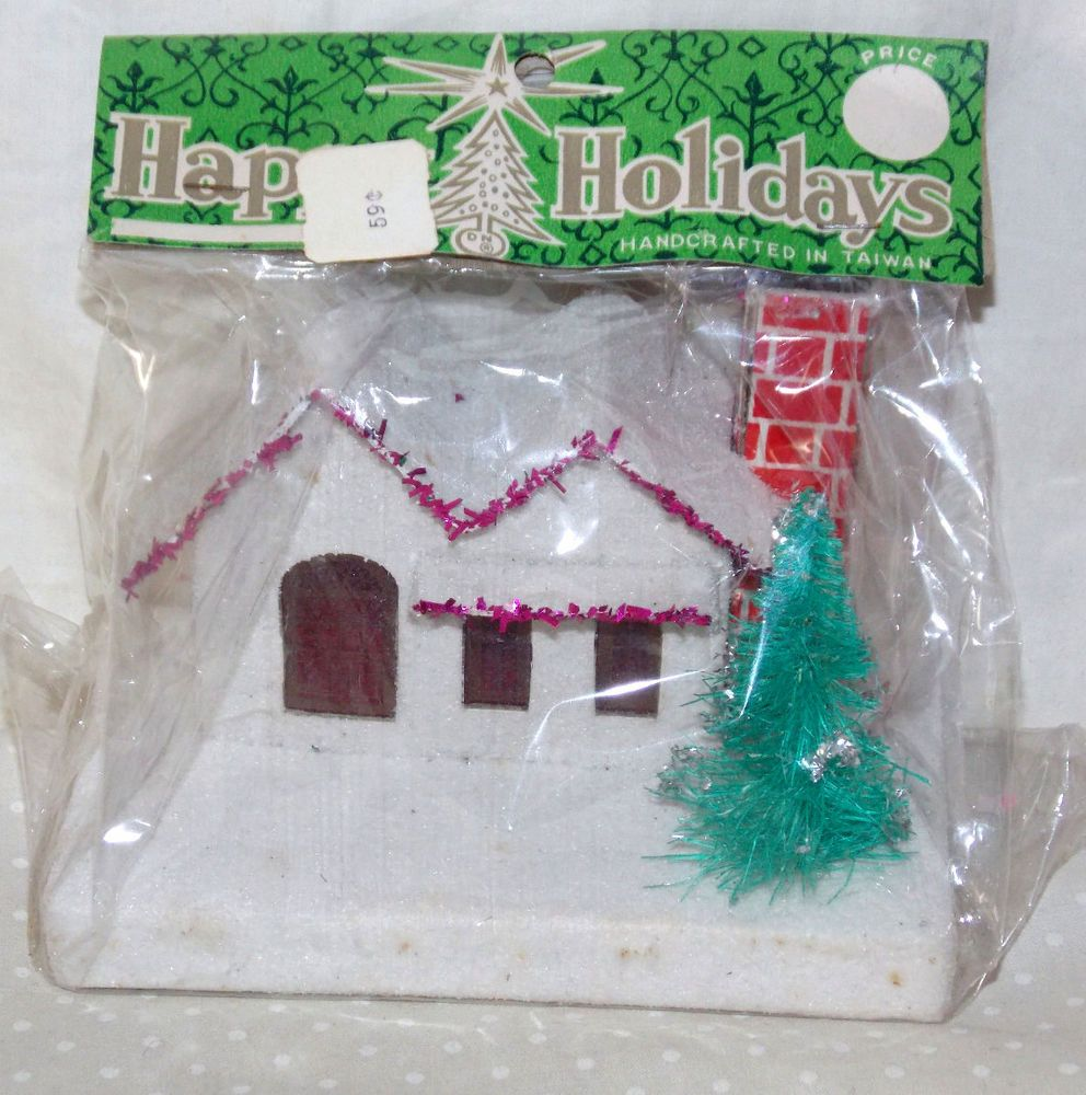 RARE Vintage Putz Mica Glitter Cardboard Christmas House Trees in ...