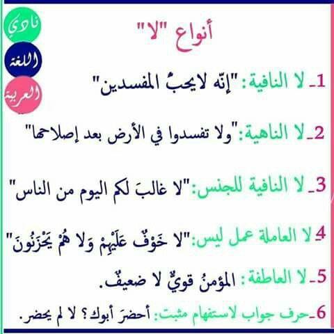أنواع لا Learn Arabic Language Arabic Language Learning Arabic