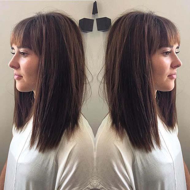 30 Modèles Cheveux Milongs Inspirés 2016 Longue frange