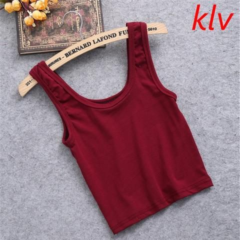c75ccb82ed6e1 KLV Summer Slim Render Short Top Women Sleeveless U Croptops Stretchable  Midriff-baring BacklessTank Tops Solid Crop Tops Vest