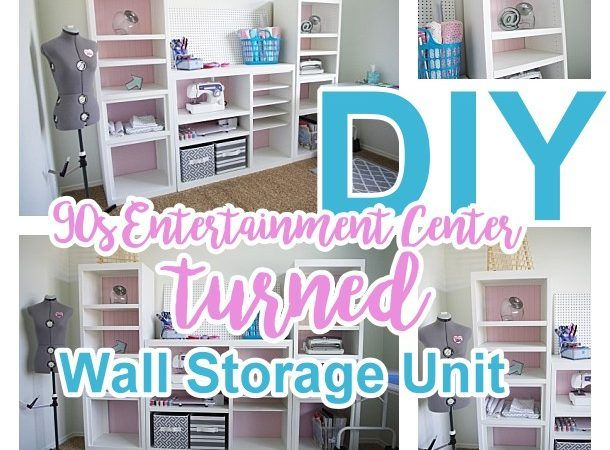 Diy Craft Room Wall Storage Organizer Unit Furniture Makeover Project Tutorial From A 90s Oak Entertainment Center Wall Storage Unit Furniture Makeover Bedroom Furniture Makeover