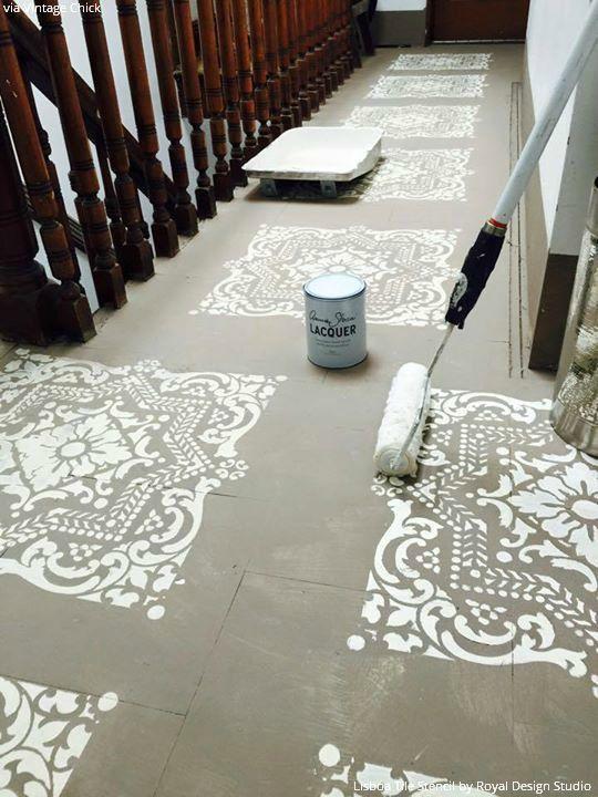 Lisboa Tile Stencil Painted Concrete Floors Painting