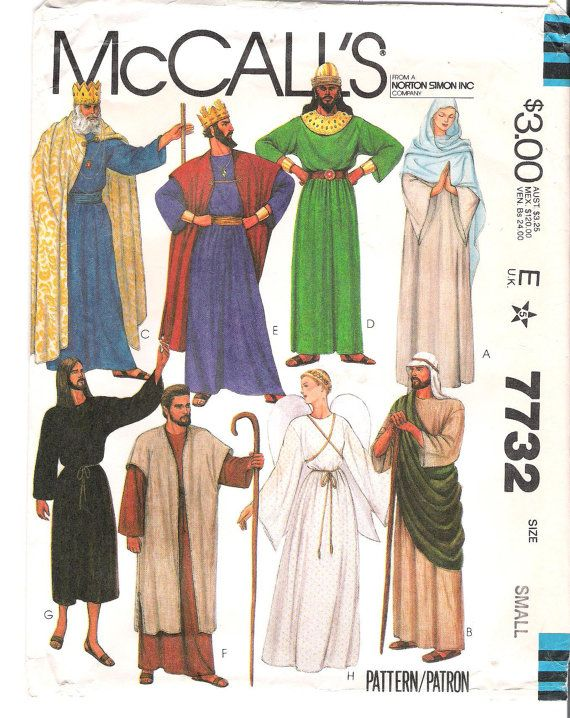 McCalls 7732 UNCUT Biblical Costumes Sewing Pattern Size Small Halloween Costume Christmas Pageant  sc 1 st  Pinterest & McCalls 7732 UNCUT Biblical Costumes Sewing Pattern Size Small ...