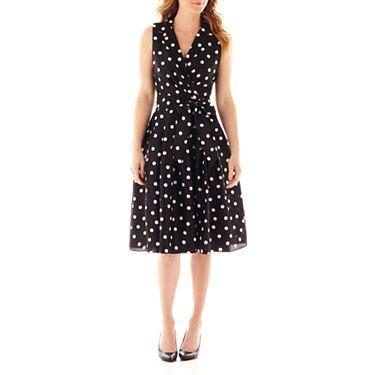 Jessica Howard Sleeve Less Notch Collar Dot Shirt Dress